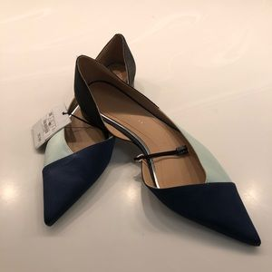 Rayon fabric multi color pointy flats